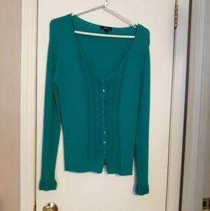 Alfani Green Rib Knit Cardigan Sweater